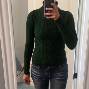 Forest green cable knit turtleneck